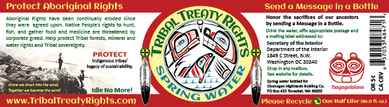 Tribal Treaty Rights brand spring water label